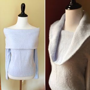 H&M icy blue fuzzy soft cowl neck sweater